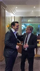 Alexis Tsipras mit Michel im Hotel Garden Elysées in Paris